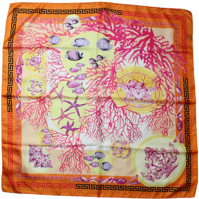 Versace Scarf Orange Fish & Greek Knit - Large Twill Silk Square Scarf