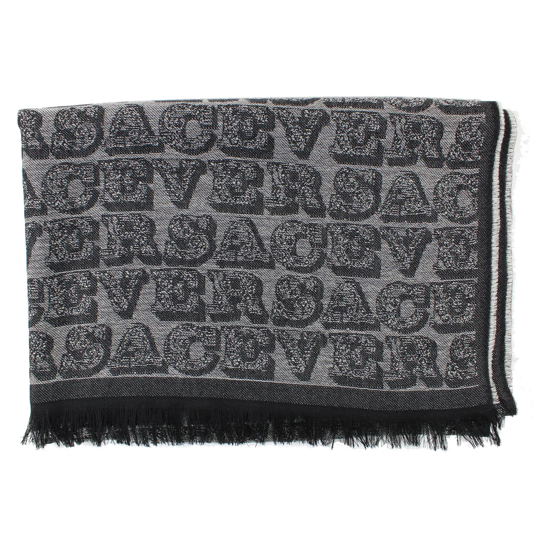 Versace Scarf Black Gray Versace Logo - Large Wool Shawl