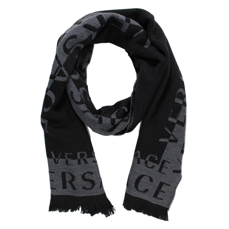 Versace Scarf Black Gray Logo Wool Shawl