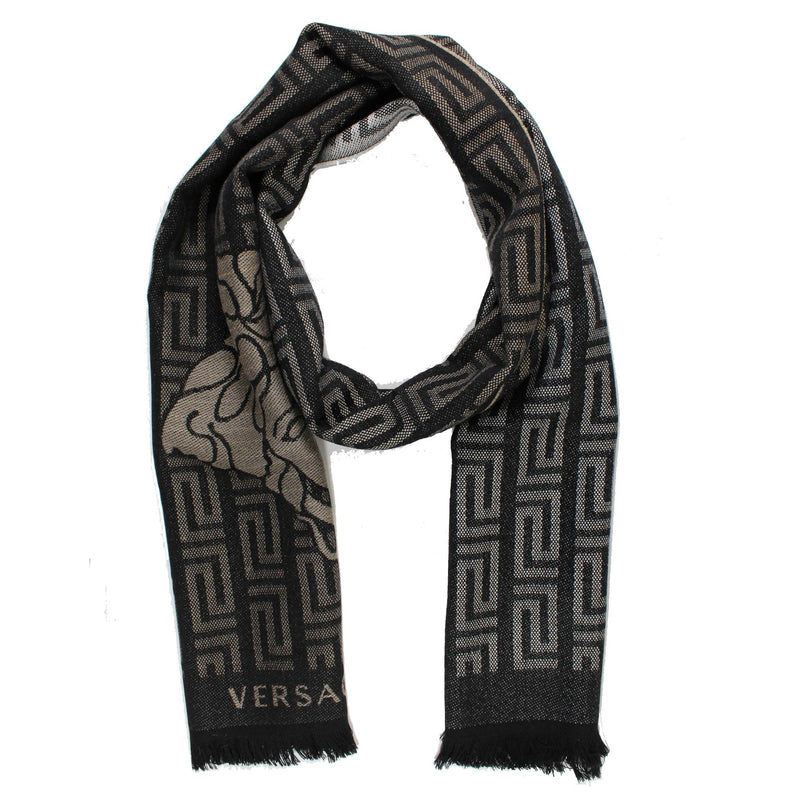 Versace Scarf Black Taupe Greek Knit & Medusa Wool Shawl