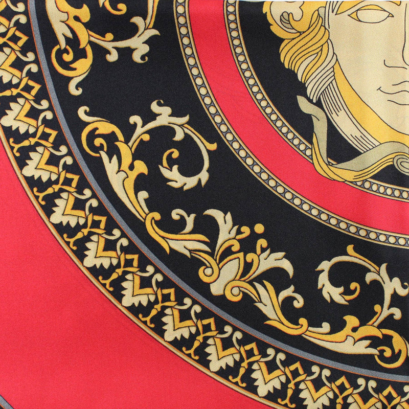 Versace Scarf Red Medusa Print- Large Twill Silk Square Scarf