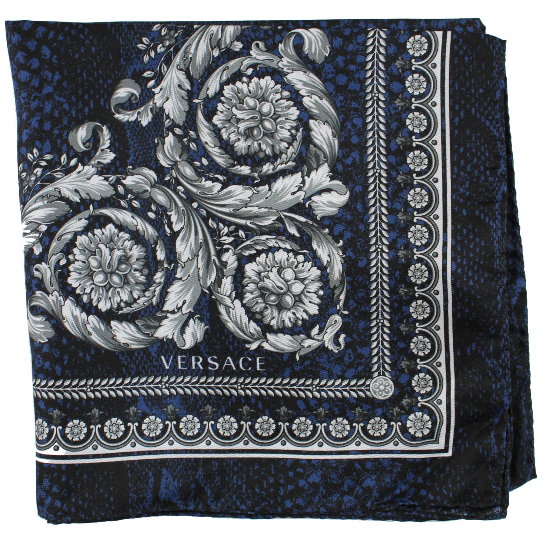 Versace Scarf Black Midnight Blue Snakeskin Baroque - Large Twill Silk Square Scarf
