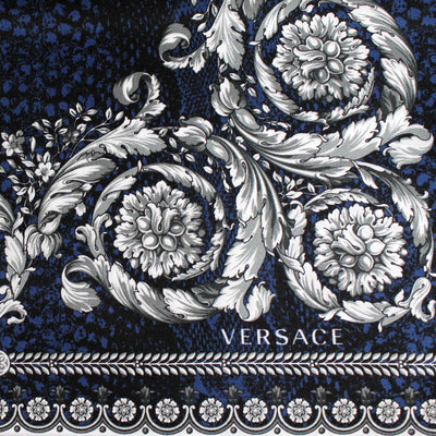 Versace Scarf Black Midnight Blue Baroque - Large Twill Silk Square Scarf