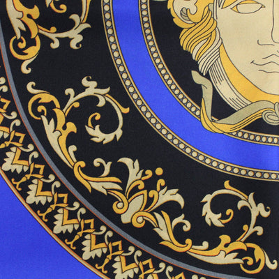 Versace Scarf Royal Blue Gold Medusa - Large Twill Silk Square Scarf