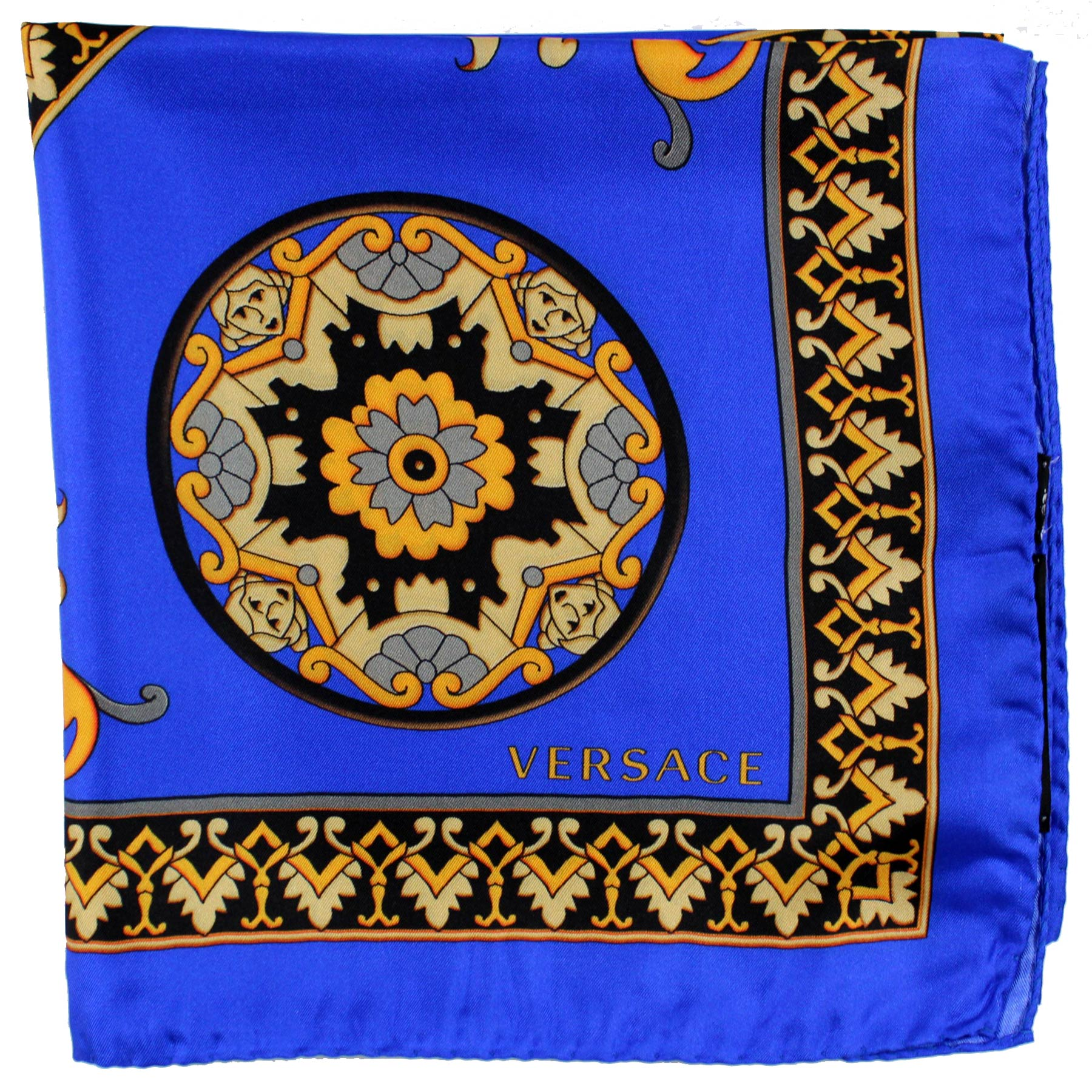 Versace Scarf Royal Blue Gold Medusa