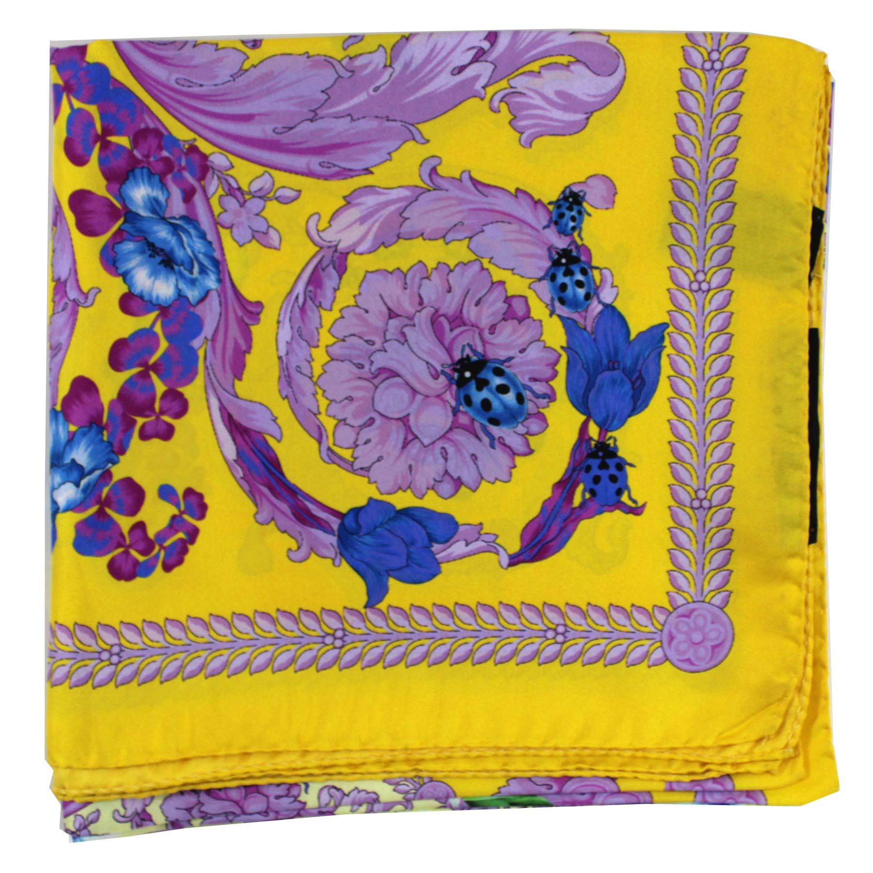 Versace Scarf Yellow Lilac Butterfly & Floral Design- Large Twill Silk Square Scarf