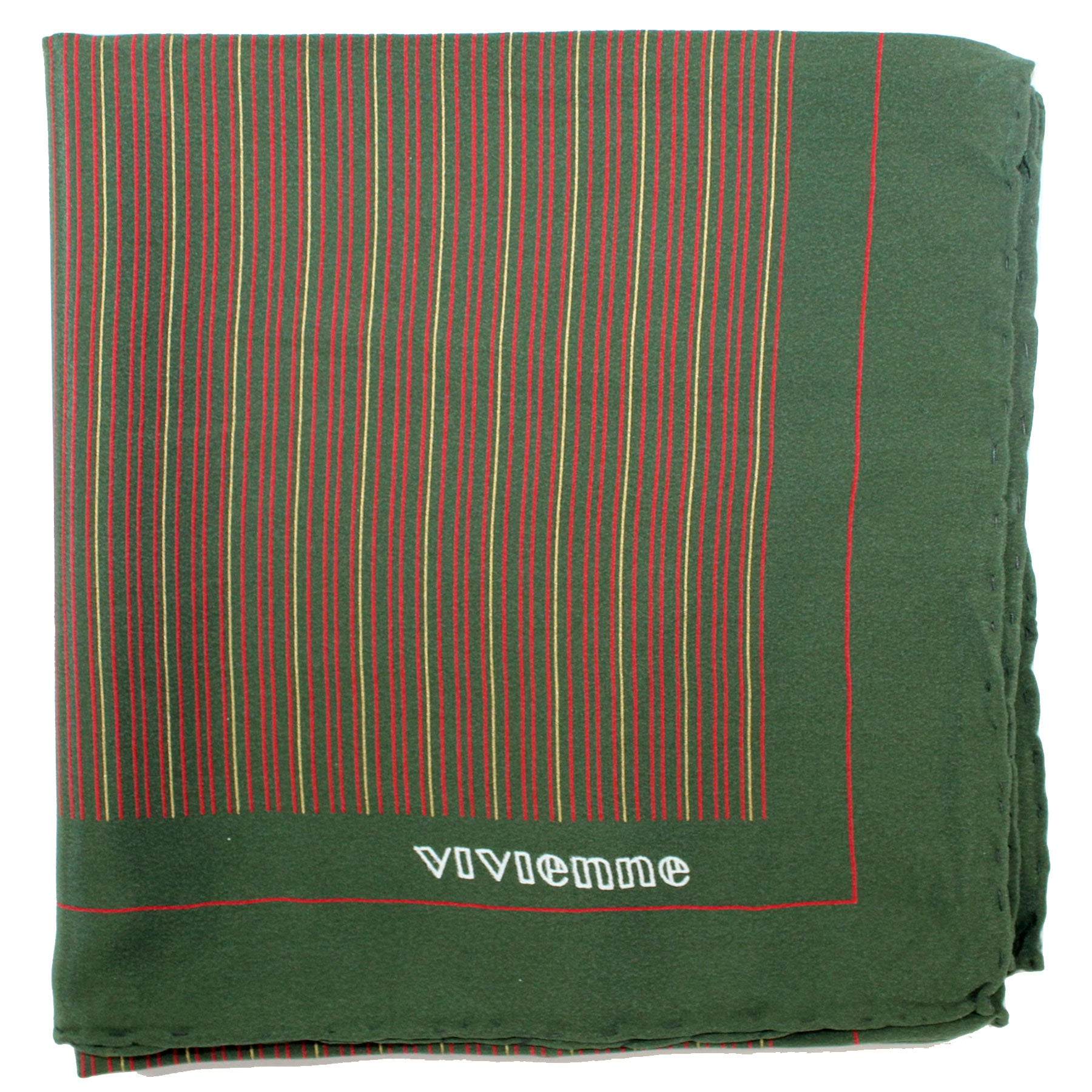 Vivienne Glamour Scarf Green Stripes - Large Silk Square Scarf