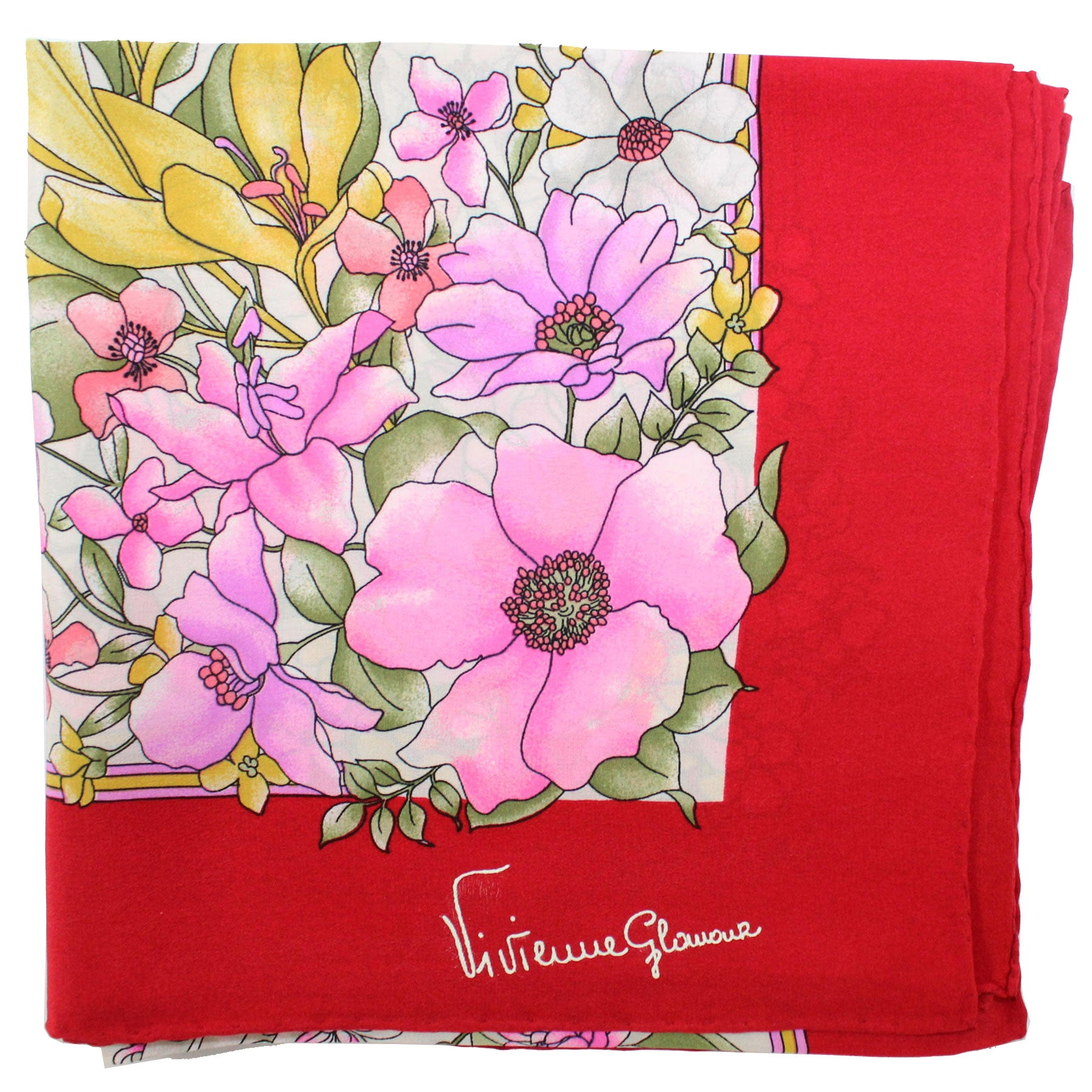 Vivienne Glamour Scarf Red Pink Yellow Floral - Large Silk Square Scarf