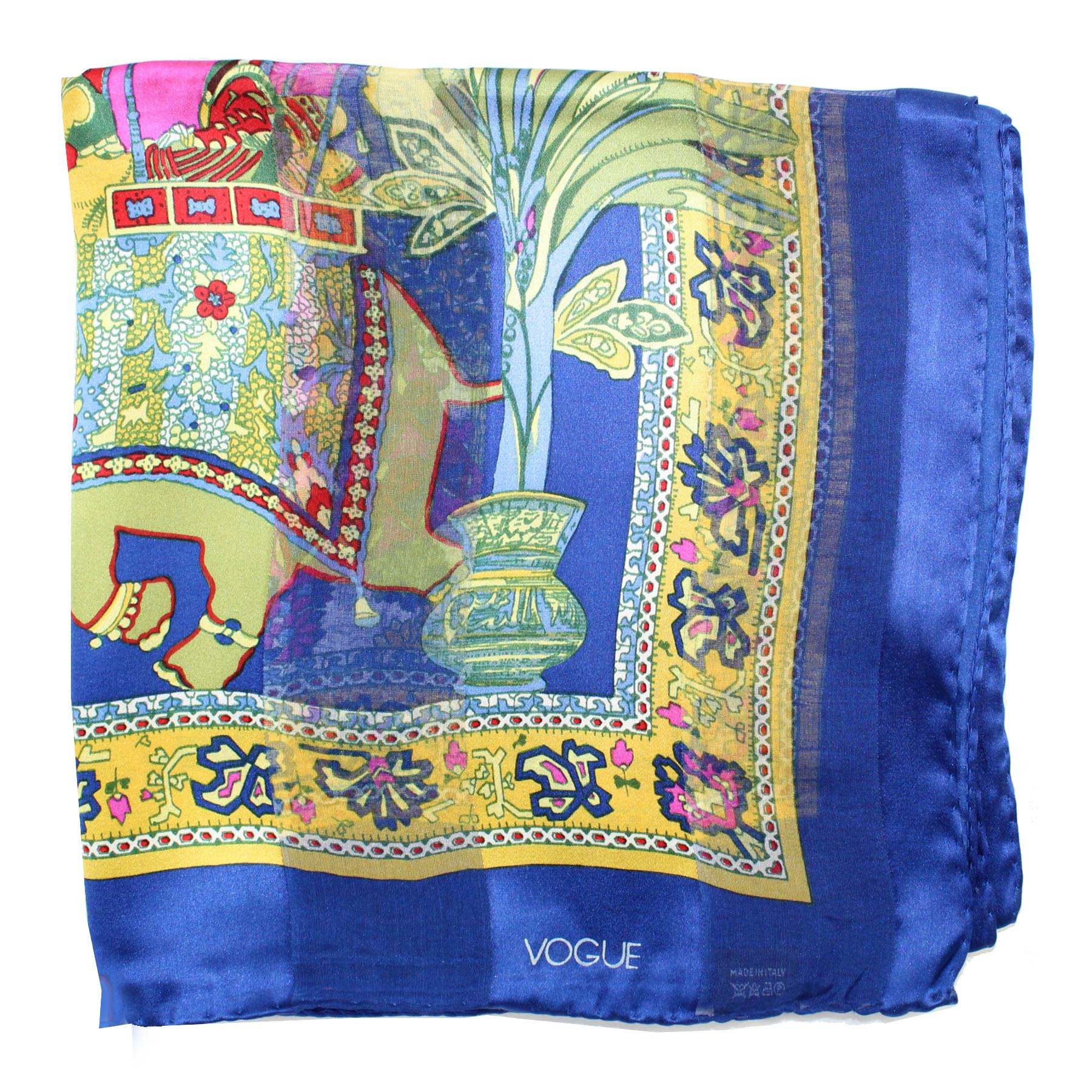 Vogue Scarf Royal Blue Mustard Pink - Large Silk Square Scarf SALE