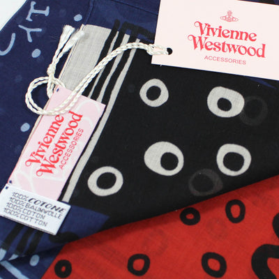 Vivienne Westwood Small Scarf Navy Sky Blue Design Small Cotton FINAL SALE