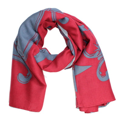 Vivienne Westwood Scarf Gray Burgundy - Extra Large Wrap