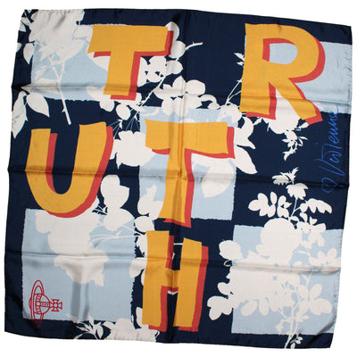 Vivienne Westwood Scarf Blue Truth Design - Large Silk Square Scarf