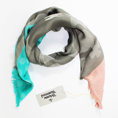 Vivienne Westwood Scarf Pink Taupe Aqua - Large Square Cotton Scarf
