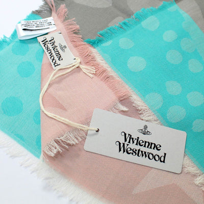 Westwood Scarf Pink Taupe Aqua - Large Cotton Wrap
