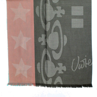 Vivienne Westwood Scarf Pink Taupe Aqua - Square Cotton Scarf