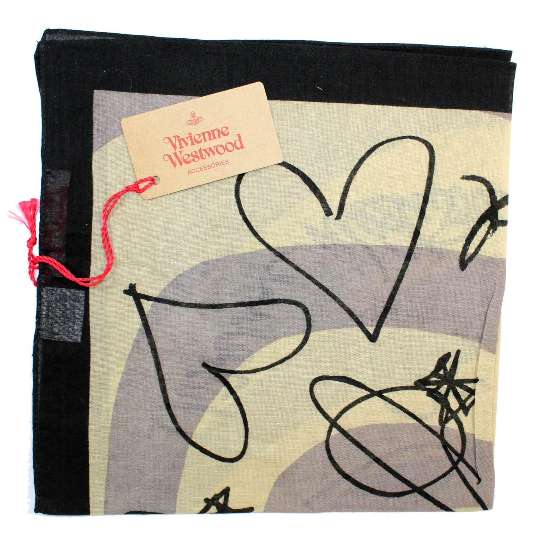 Vivienne Westwood Small Scarf Hearts Design Cotton FINAL SALE