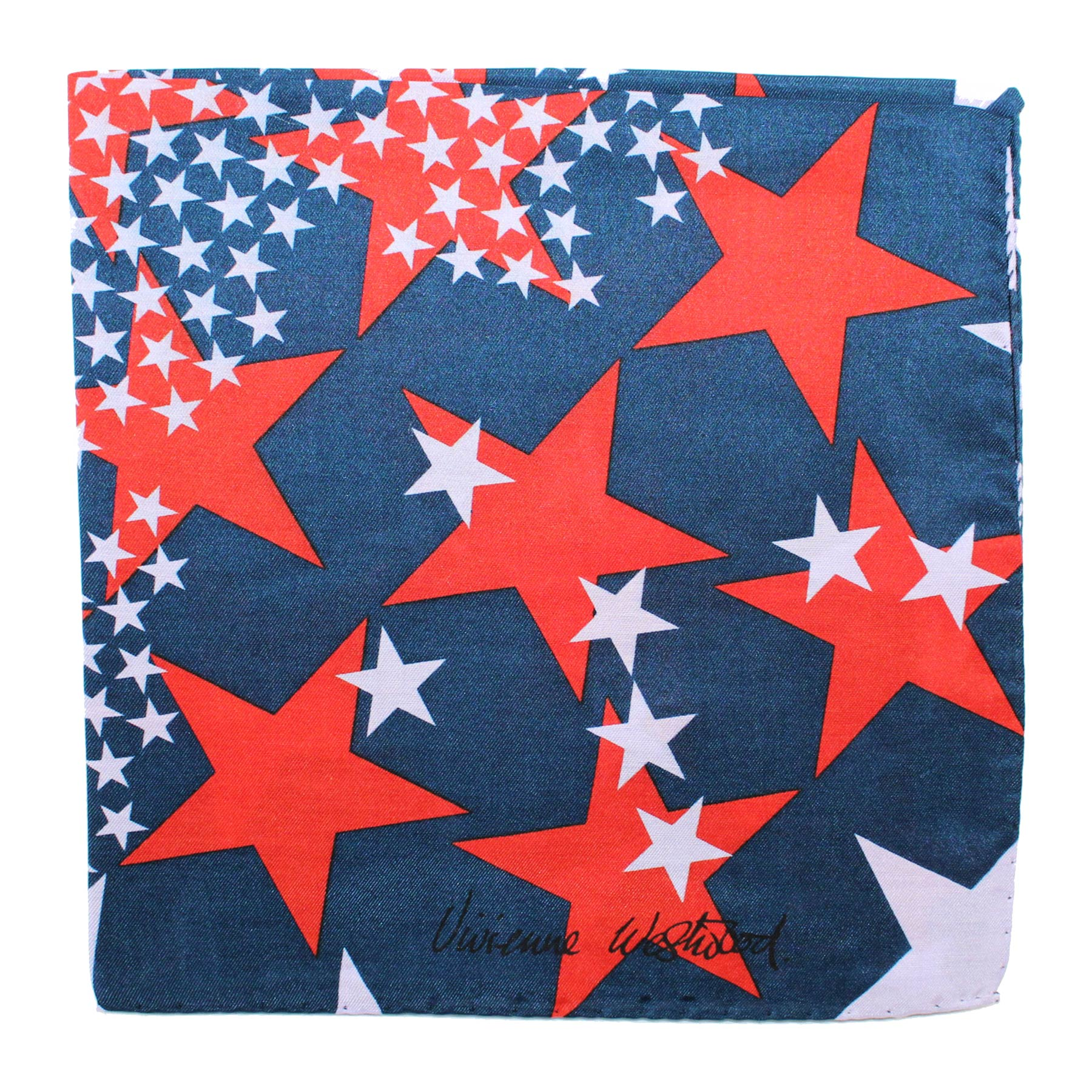 Vivienne Westwood Small Scarf Dark Blue Red Stars