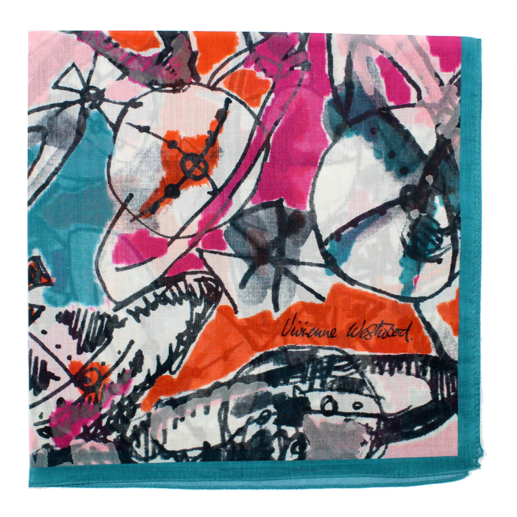 Vivienne Westwood Small Scarf Teal Pink - Cotton Scarf FINAL SALE
