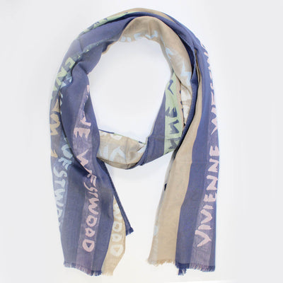 Vivienne Westwood Scarf Taupe Dark Blue Logo Stripes - Cotton Silk Shawl FINAL SALE