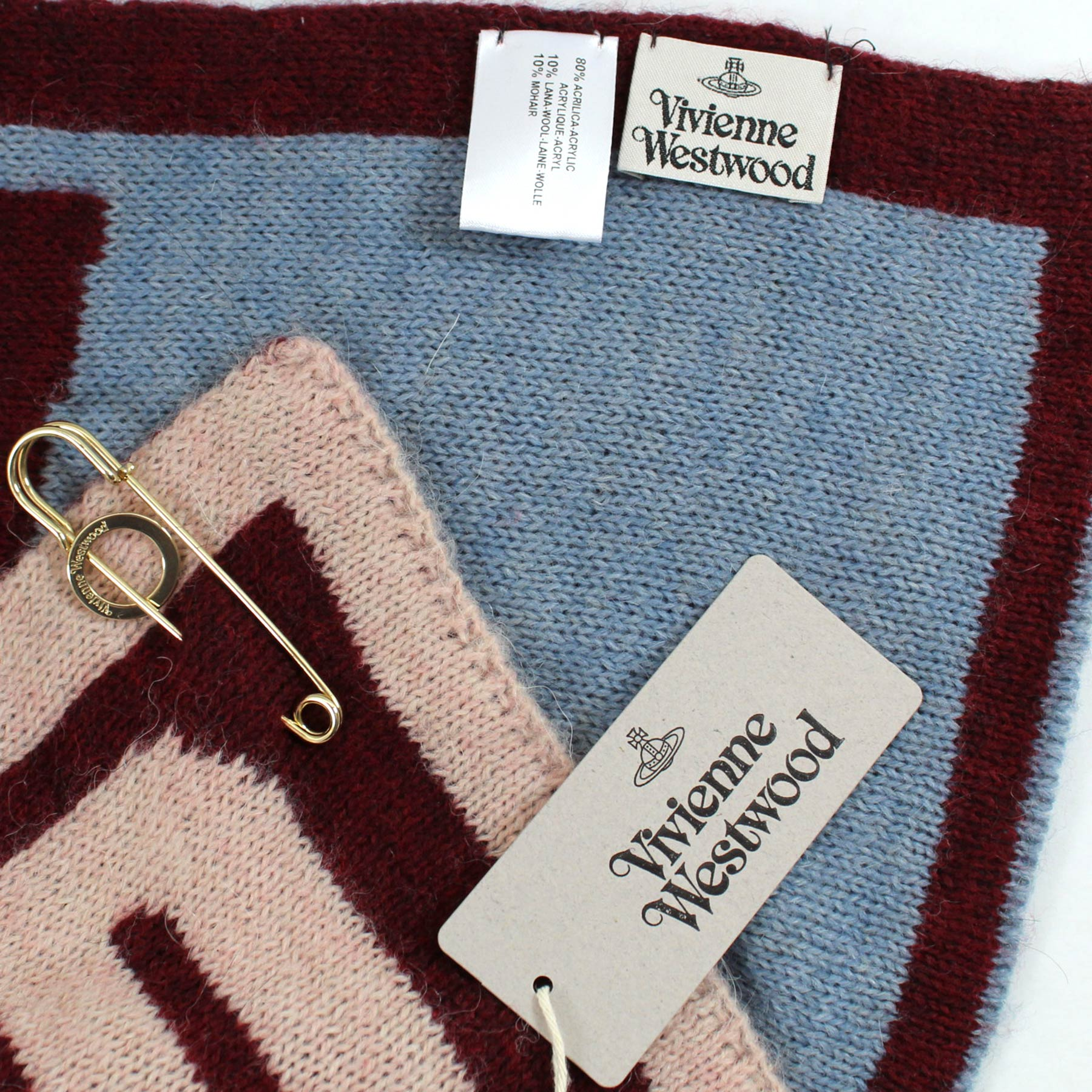 Vivienne Westwood Scarf Maroon Wool Blend Extra Large Square Scarf FINAL SALE