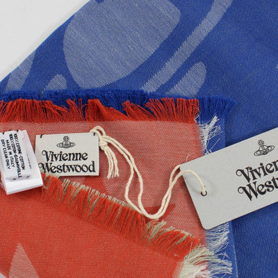 Vivienne Westwood Scarf Royal Blue Red Pink Orbit  - Square Cotton Scarf - FINAL SALE