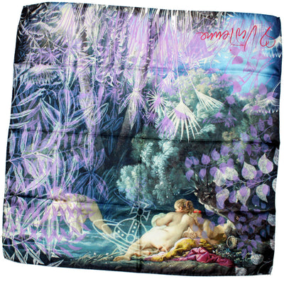 Vivienne Westwood Scarf Black Purple Nude Painting Large Silk Square Scarf FINAL SALE
