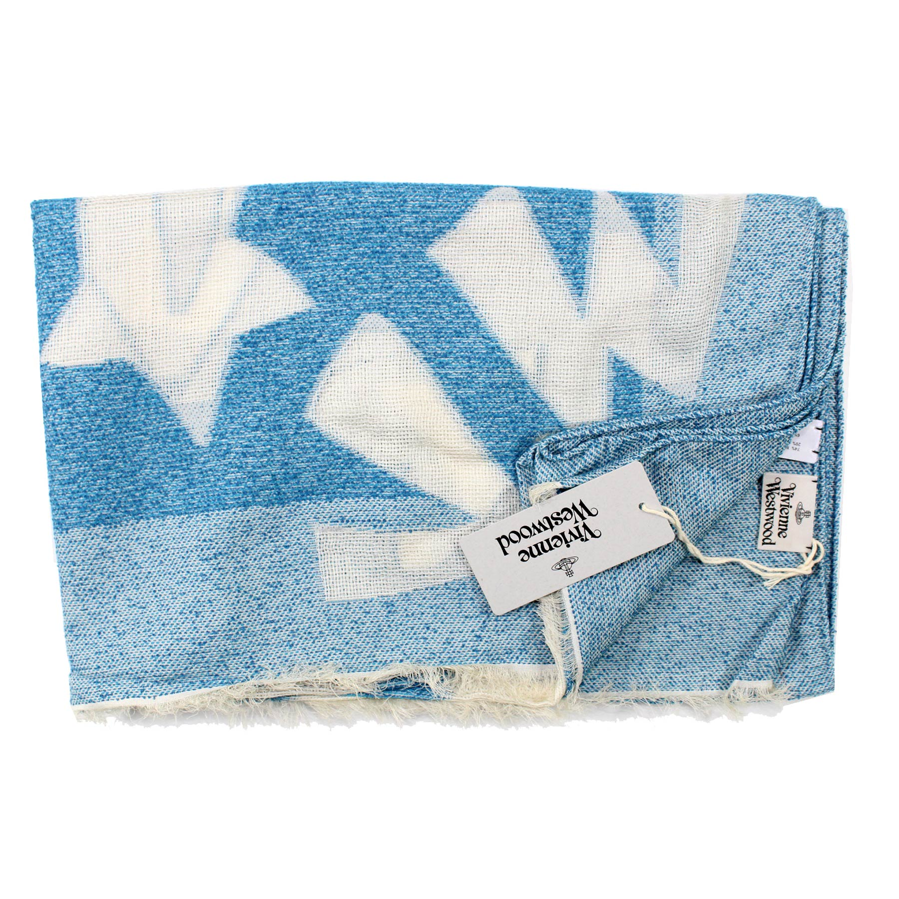 Vivienne Westwood Aqua White Shawl - Modal Cotton Scarf REDUCED - FINAL SALE