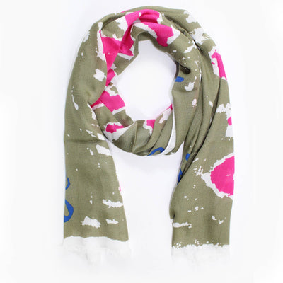 "Vivienne Westwood Olive-Taupe Pink ""Save The Rainforest"" Shawl SALE"