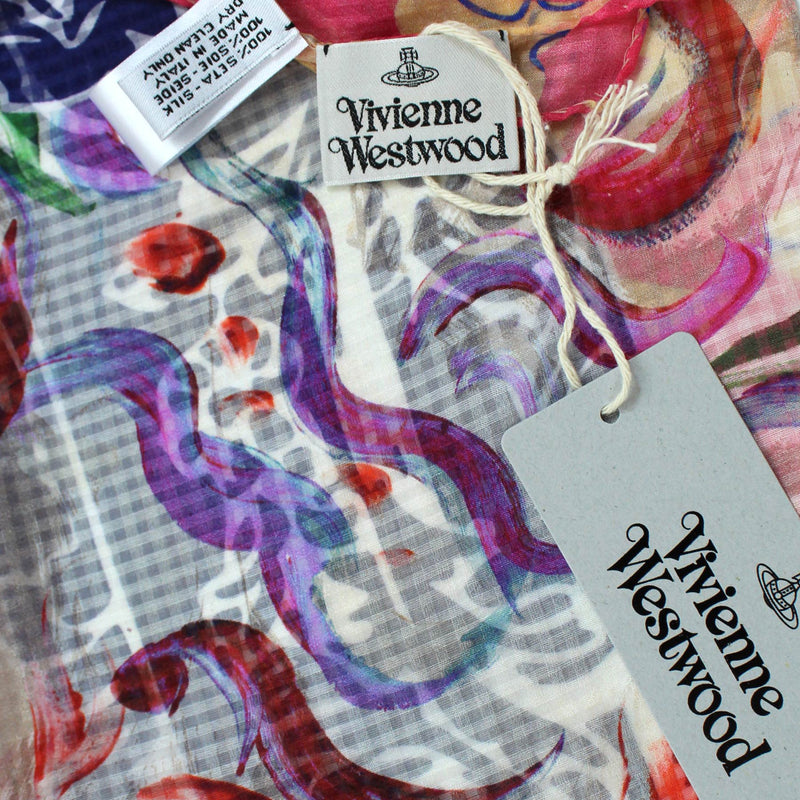 Vivienne Westwood Scarf Purple Pink Cream - Medium Silk Square Scarf