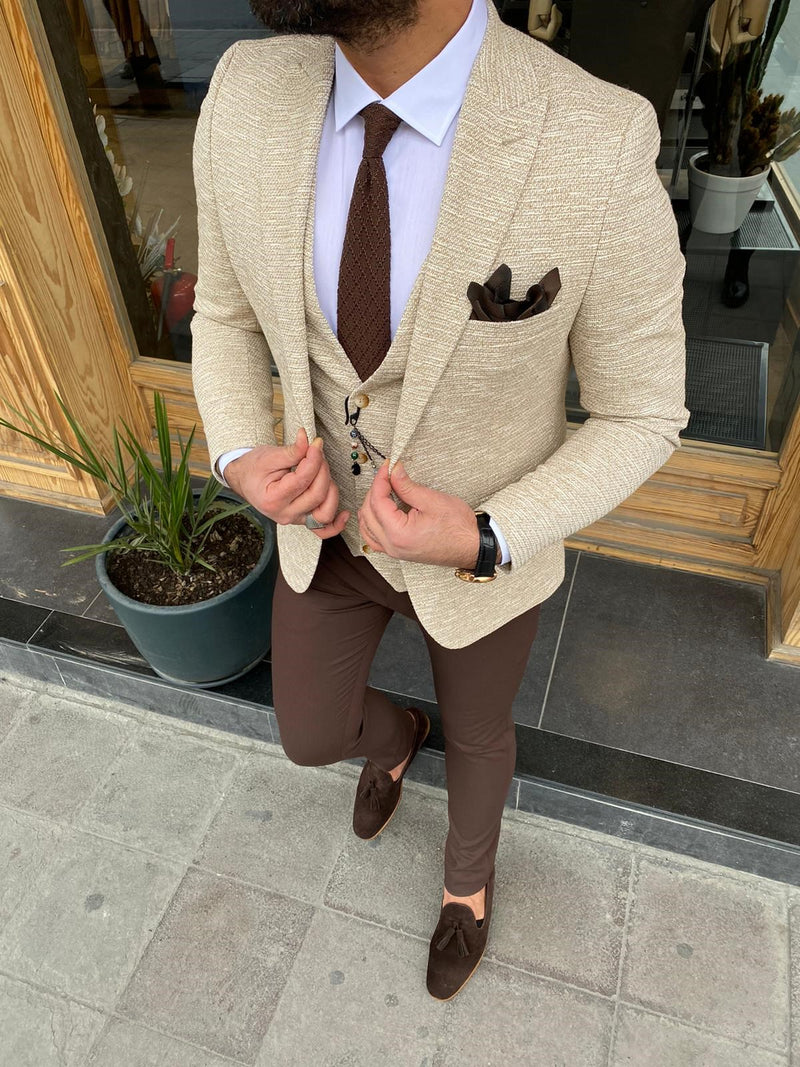Richard L-Beige Slim-Fit Suit