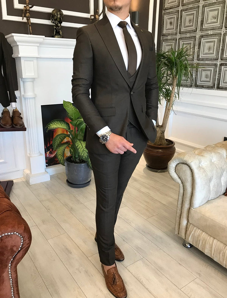 Bernardo Brown Slim-Fit Suit