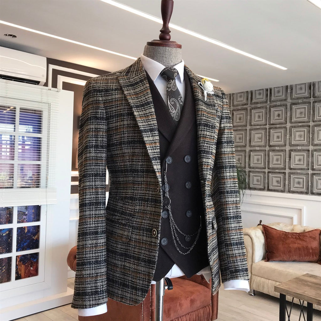 Boston Brown Plaid Slim-Fit Blazer