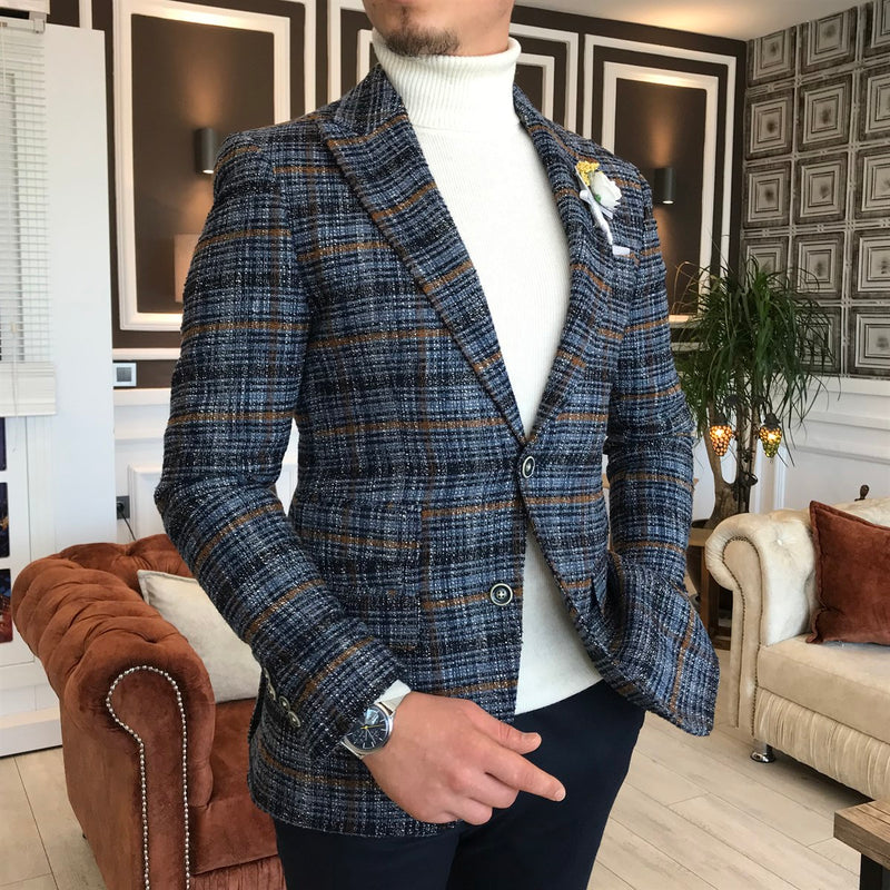 Boston Navy Plaid Slim-Fit Blazer