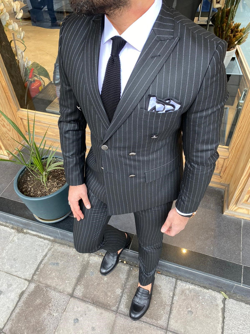 Donazi Black Striped Double Breasted Suit