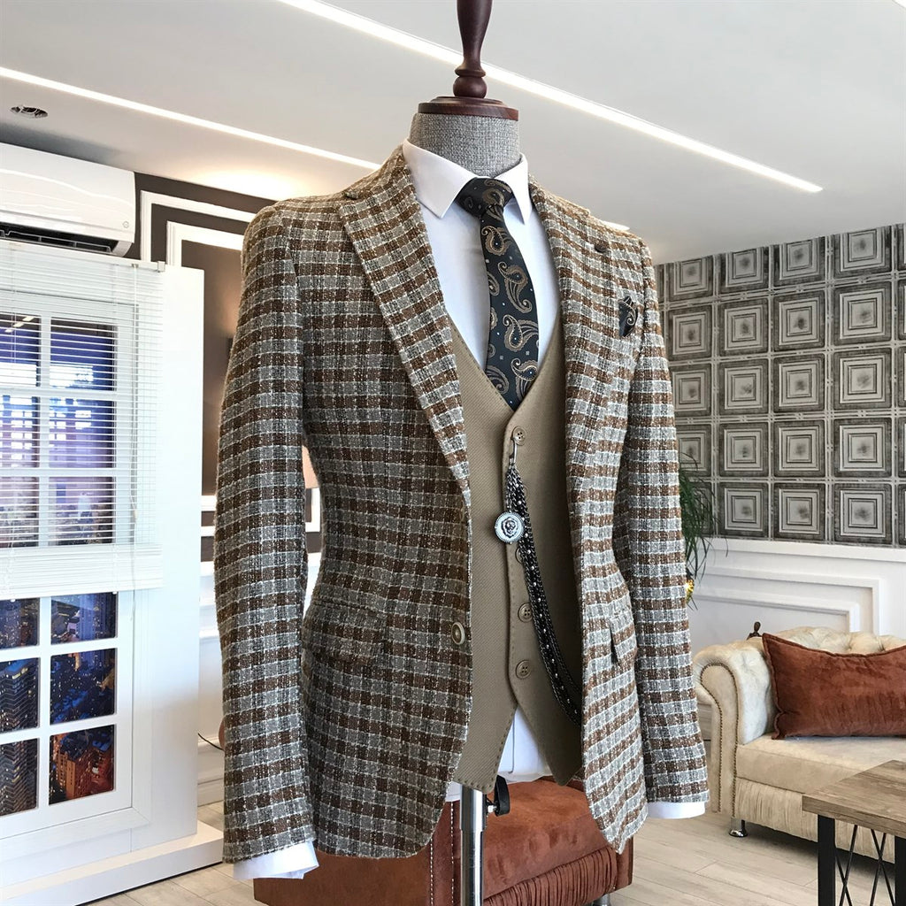 Donazi Brown Plaid Slim-Fit Blazer