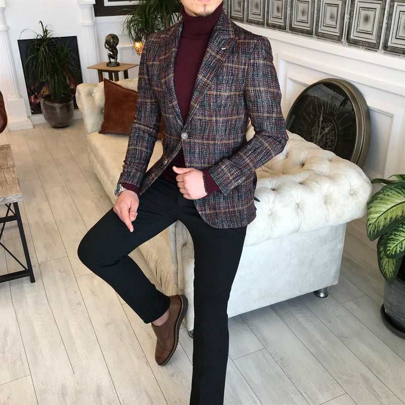 Donazi Bordeaux Plaid Slim-Fit Blazer