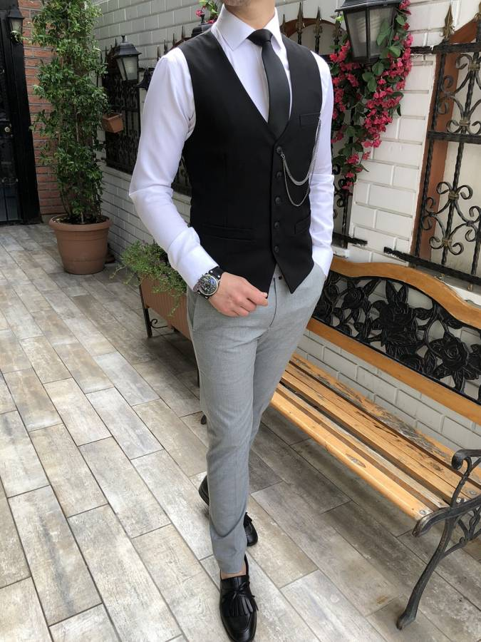 Donazi Elite Black Slim-Fit Vest