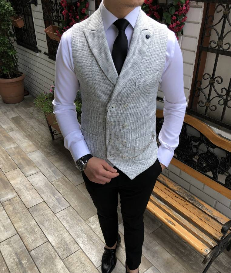 Donazi Light Grey Slim-Fit Vest