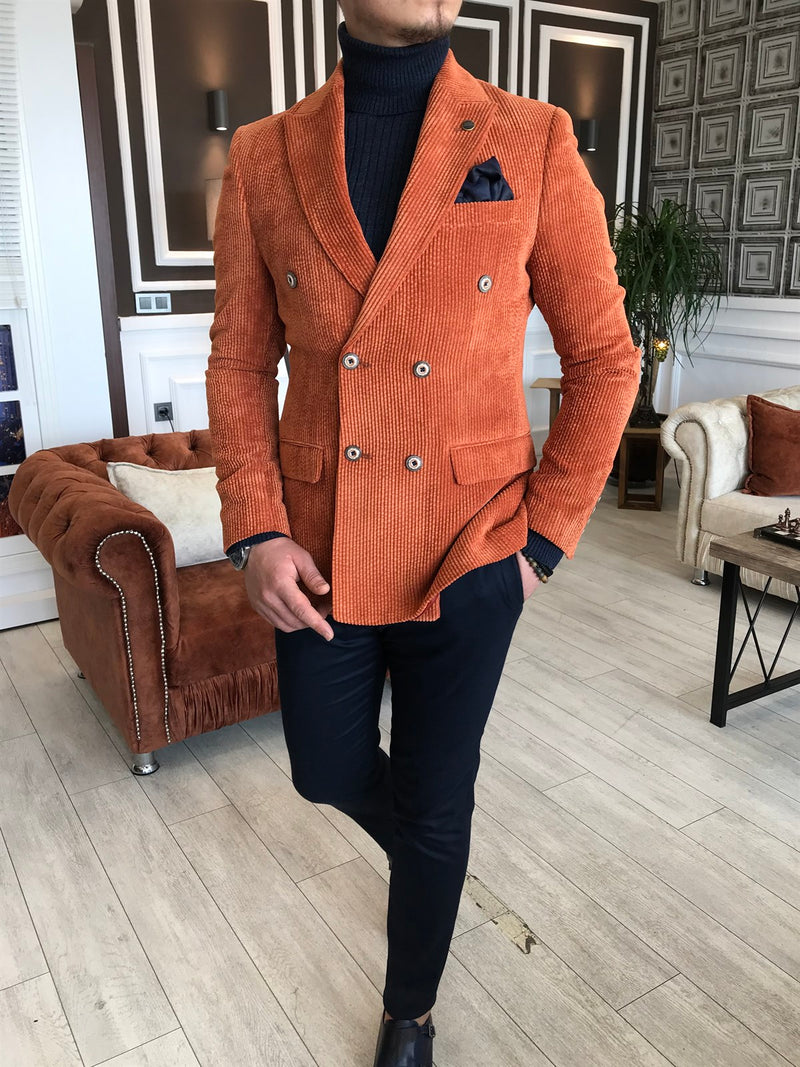 Donazi Orange Velvet Double Breasted Blazer