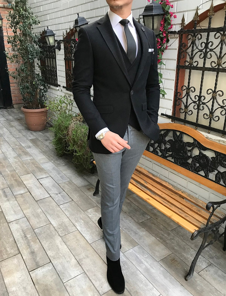 Eriс Black-Grey Slim-Fit Suit