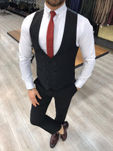 Renzo Black Slim-Fit Suit