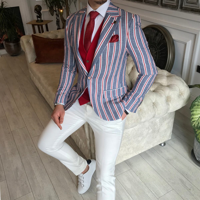 Giotelli Grey-Red Striped Slim-Fit Suit