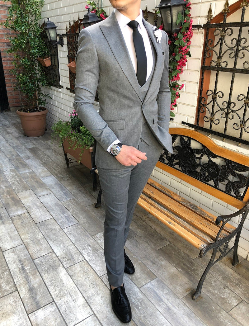 Giovanni Grey Slim-Fit Suit