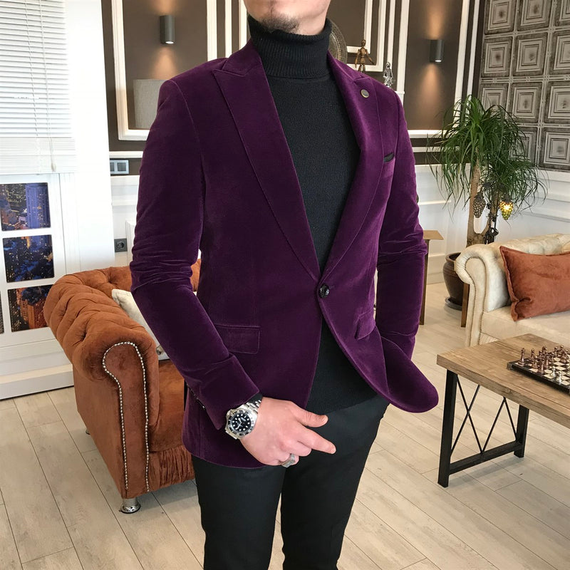 Marco Suede Purple Slim-Fit Blazer