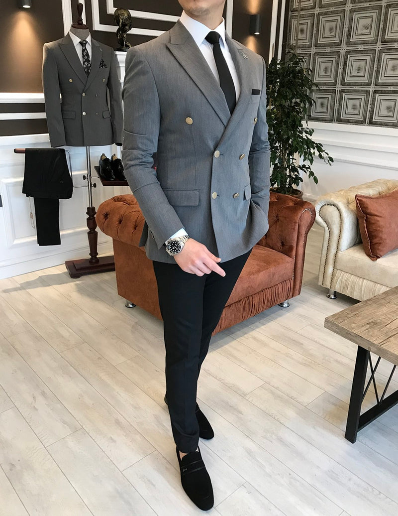 Manno Grey Double Breasted Blazer