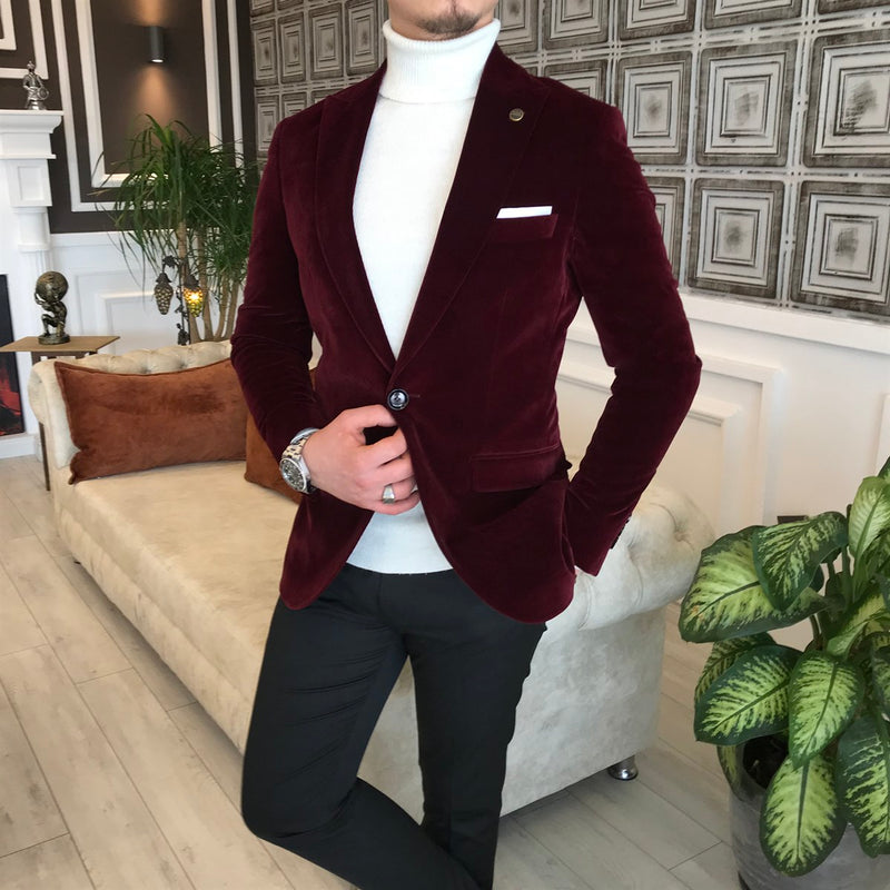 Marco Suede Bordeaux Slim-Fit Blazer