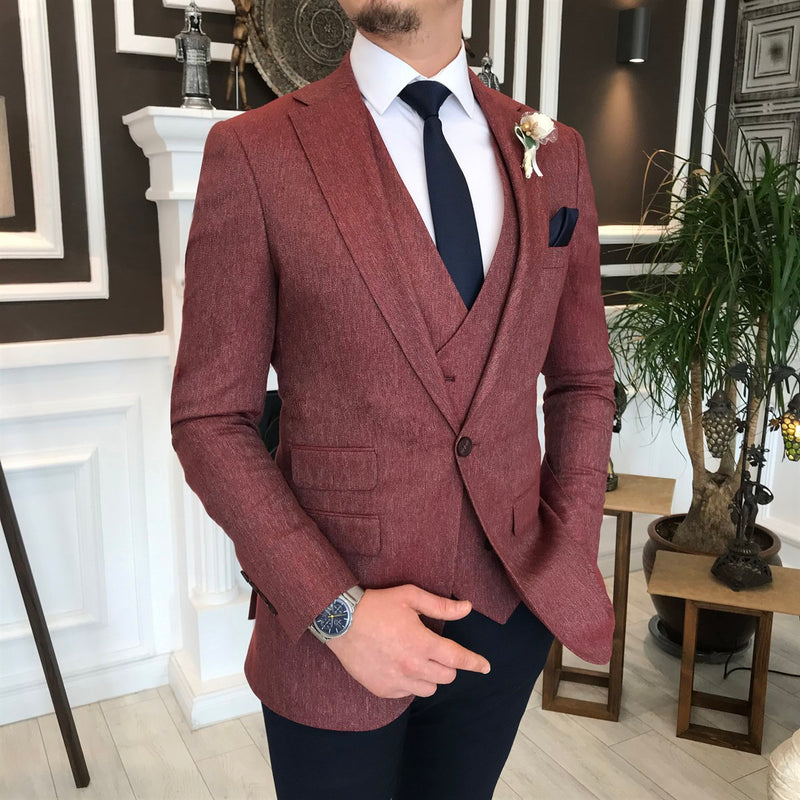 Marco Bordeaux Slim-Fit Suit