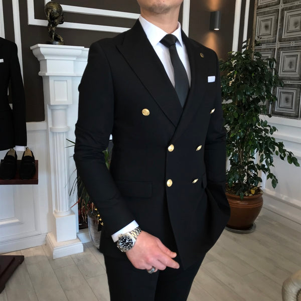Mateo Black Double Breasted Suit