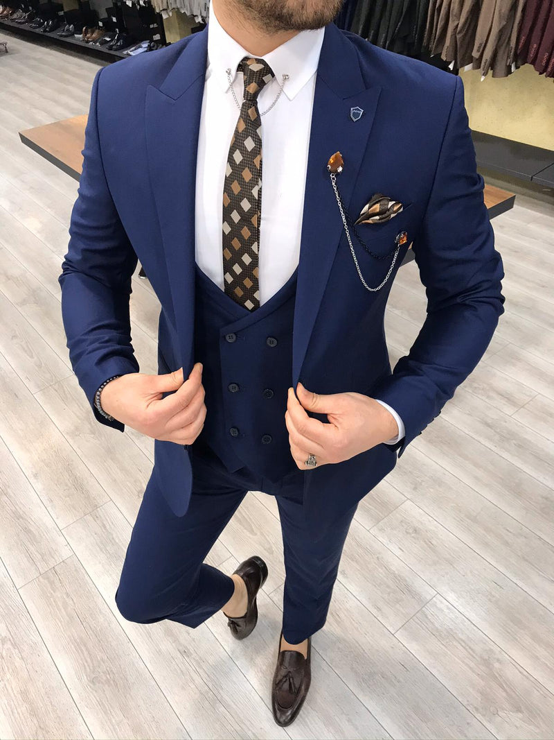 Renzo Blue Slim-Fit Suit