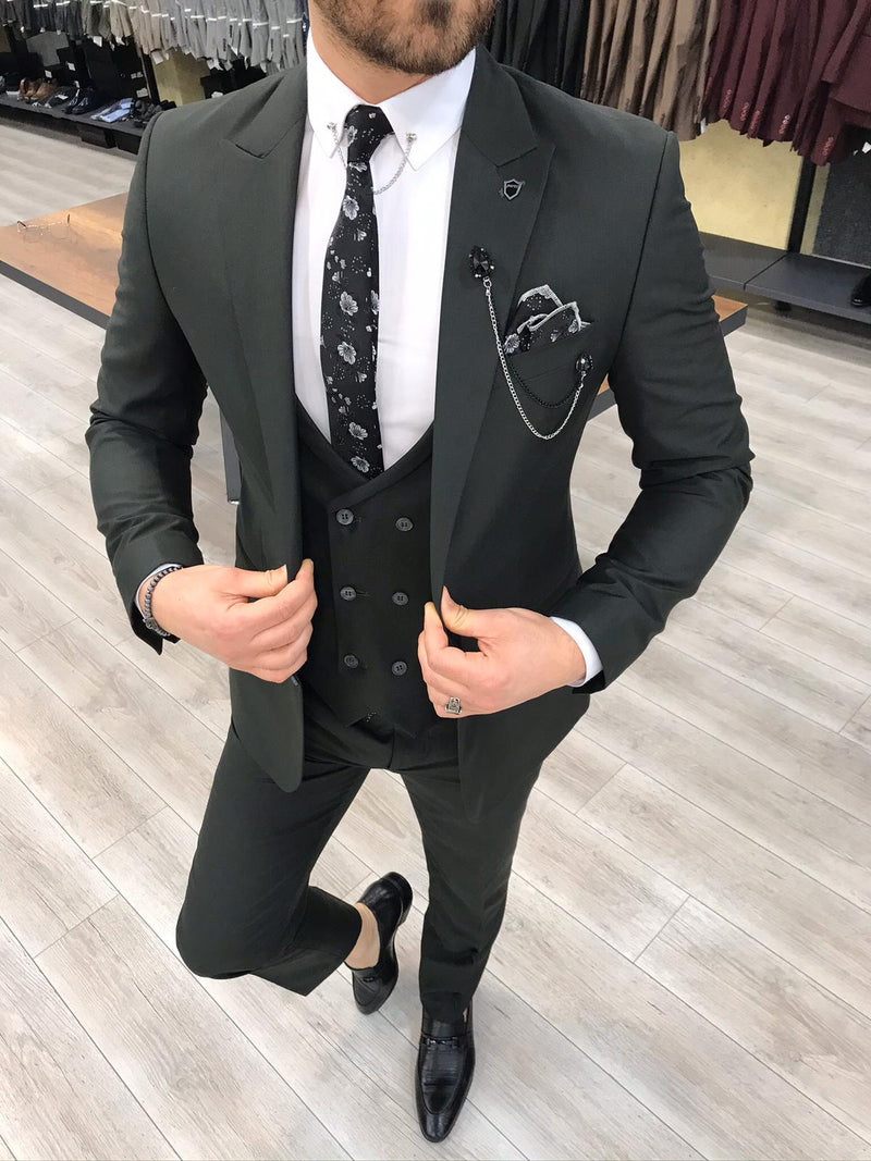 Renzo Dark Green Slim-Fit Suit